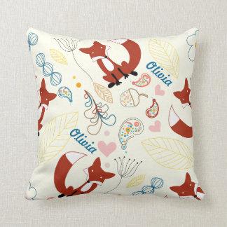 Vintage Modern Fox Heart Woodland Baby Girl Pillow