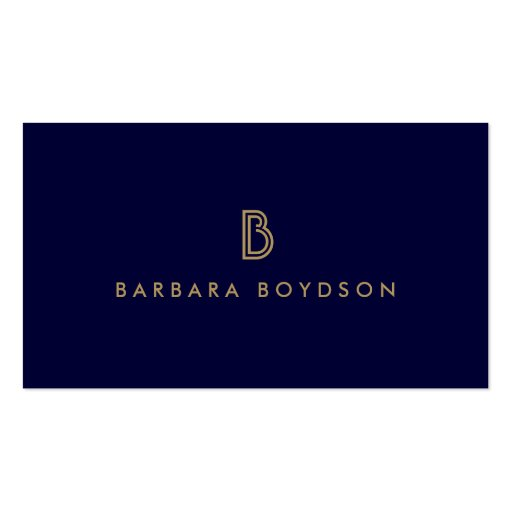 VINTAGE MODERN GOLD and NAVY INITIAL MONOGRAM LOGO Business Card Templates