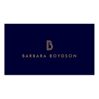 VINTAGE MODERN GOLD and NAVY INITIAL MONOGRAM LOGO Double-Sided Standard Business Cards (Pack Of 100)