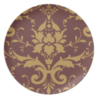 Vintage Modern Gold Damask on Brown Dinner Plate