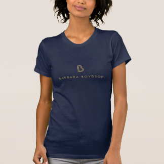 VINTAGE MODERN GOLD INITIAL MONOGRAM LOGO T-Shirt