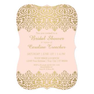 Vintage Modern Golden Lace Look Elegant Bridal Announcements