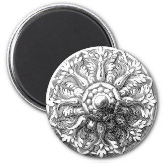 Vintage Modern Leaf Medallion Fridge Magnet