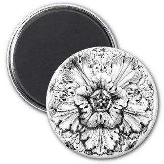 Vintage Modern Leafy Flower 2 Inch Round Magnet