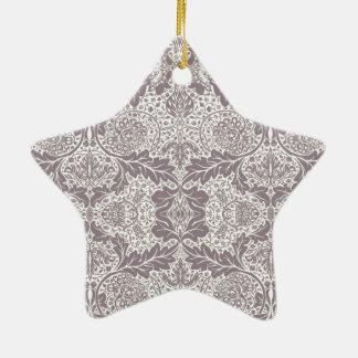 Vintage Modern Paisley and Flower Pattern Ceramic Ornament