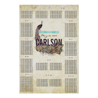 Vintage Modern Peacock Seating Chart Poster