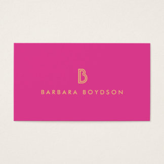 VINTAGE MODERN PINK and GOLD INITIAL MONOGRAM LOGO Business Card