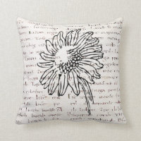 Vintage Modern sunflowers illustrations manuscript Throw Pillow