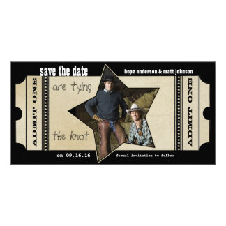 Vintage Modern Theater Ticket Save the Date Card