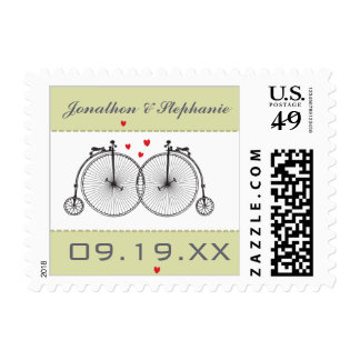 VINTAGE Modern Typography BICYCLE TYING THE KNOT Postage