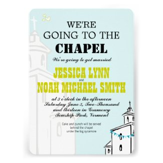 Vintage Modern We're going to the Chapel Wedding Custom Announcements