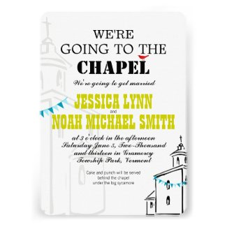 Vintage Modern We're going to the Chapel Wedding Personalized Invite