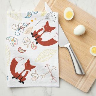 Vintage Modern Woodland Animals Fox Pattern Towel