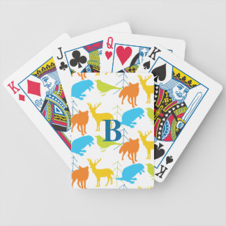 Vintage Modern Woodland Animals Pattern Bicycle Playing Cards