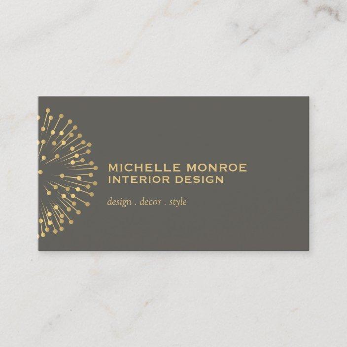 Vintage Modernist Starburst Interior Designer Gray Business Card Zazzle Com