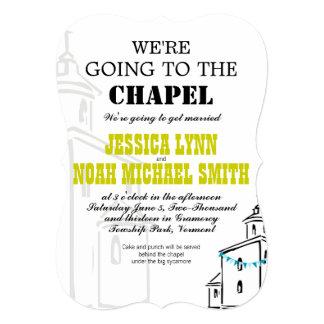 Vintage moderno vamos al boda de la capilla invitación 12,7 x 17,8 cm