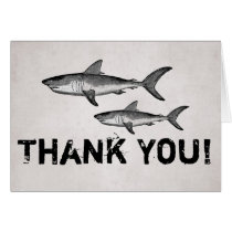 Vintage Mom and Baby Sharks Ocean ~Beach Thank You