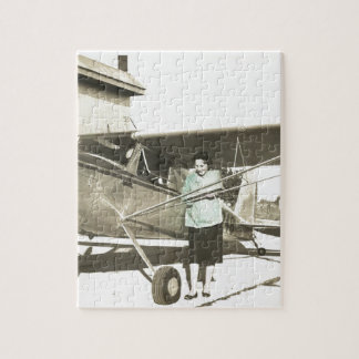 vintage mom and plane jigsaw puzzle