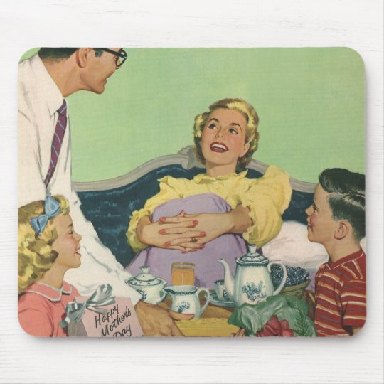 Vintage Mom Gets Breakfast in Bed From the Family Mouse Pad