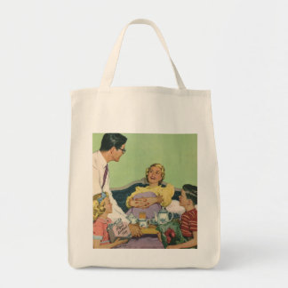 Vintage Mom Served Breakfast in Bed by the Family Tote Bags