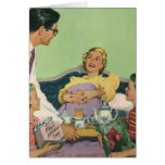 Vintage Mom Served Breakfast in Bed by the Family Greeting Card