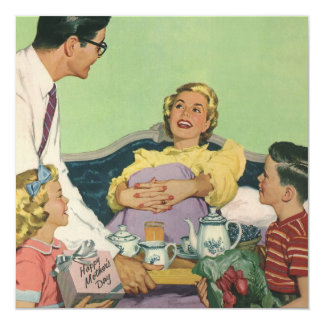 Vintage Mom Served Breakfast in Bed by the Family Card