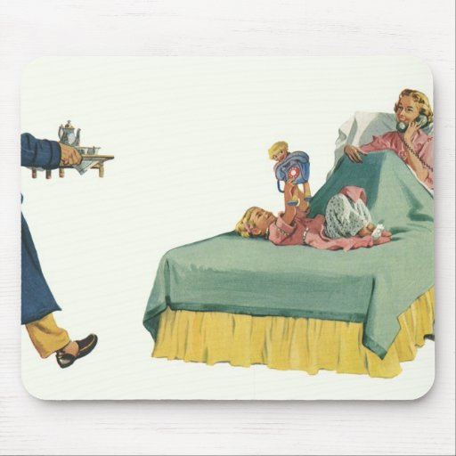 Vintage Mom Served Breakfast in Bed by the Family Mouse Pad
