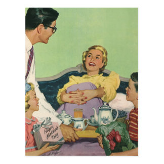 Vintage Mom Served Breakfast in Bed by the Family Postcards