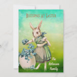 Vintage Mommy Rabbit Blue Flowers Egg Easter Card