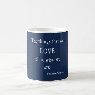 Vintage Monaco Blue Aquinas Love Quote / Quotes Coffee Mug