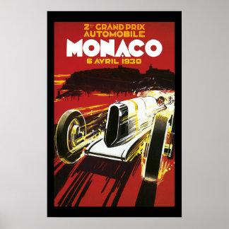 Vintage Monaco Car Road Race Poster