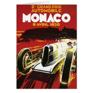 Vintage Monaco Car Road Race Poster Card
