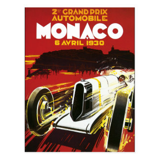 Vintage Monaco Car Road Race Poster Postcard