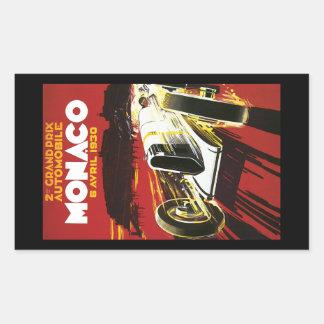Vintage Monaco Car Road Race Poster Rectangular Sticker