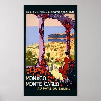 Vintage Monaco Monte Carlo Travel Poster