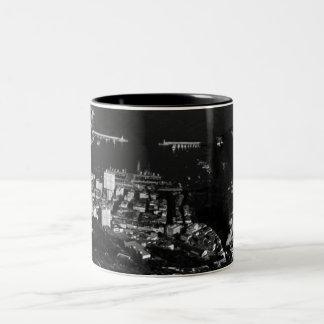 Vintage Monaco Principality port overview 1970 Two-Tone Coffee Mug