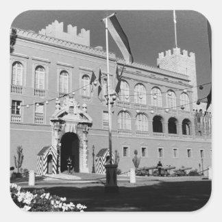 Vintage Monaco Principality princely palace 1970 Square Sticker