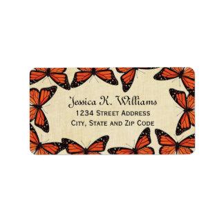 Vintage Monarch Butterfly Border on Parchment Label