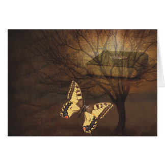 Vintage Monarch Butterfly with Tree and Book Card