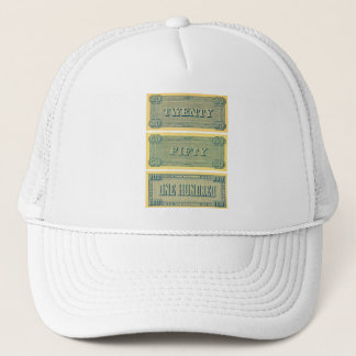 Vintage Money Confederate Play 20 50 100 Dollars Trucker Hat