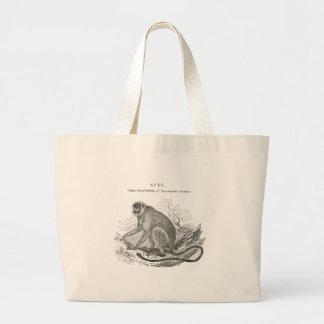 Vintage monkey illustration tote bag