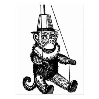 Vintage Monkey On A String Postcard