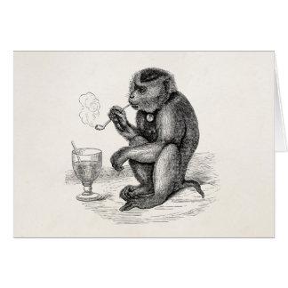 Vintage Monkey Smoking a Pipe Monkeys  Animal Card