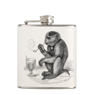 Vintage Monkey Smoking a Pipe Monkeys  Animal Hip Flask