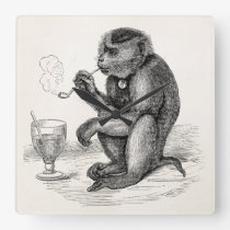 Vintage Monkey Smoking a Pipe Monkeys  Animal Square Wall Clock