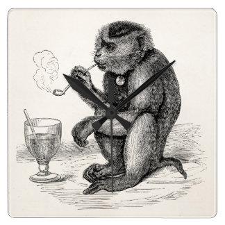 Vintage Monkey Smoking a Pipe Monkeys  Animal Square Wall Clock