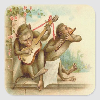 Vintage, Monkeys Playing Musical Instruments Square Sticker