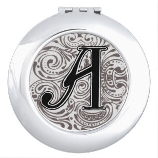 Vintage Monogram 'A' in Grey Travel Mirrors