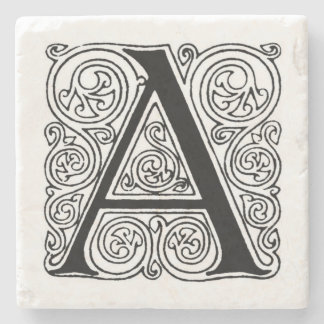 Vintage Monogram 'A' With Swirls Stone Coaster