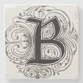 Vintage Monogram 'B' in Grey Stone Coaster